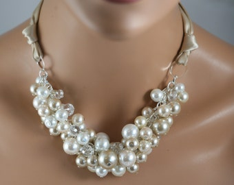 champagne white and ivory chunky necklace with champagne ribbon-bridesmaids jewelry-wedding necklace
