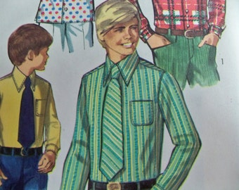 """1970 Simplicity 8901 Teen Boys Shirt and Tie Size 12, Chest 30"""" Boys Shirt Pattern Boys Tie Pattern Supply Sewing Pattern Retro 70s ff"""