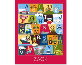 Personalized Transportation Alphabet Poster - On The Go Red
