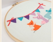 "Friends 8"" Embroidery Hoop Art Wall Hanging - By Jennifer Star"