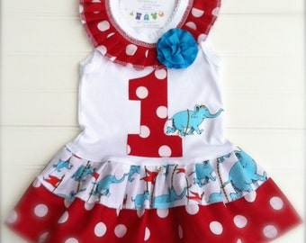 Girls Custom Circus Elephant Dress. Kids Custom Boutique Dr Seuss Outfit. Available 0-3 mo through Size 6/8