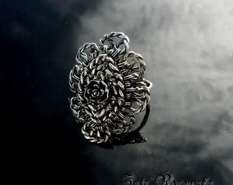 Adjustable ring sterling silver  wire wrapped wrapping wirework FREE SHIPPING