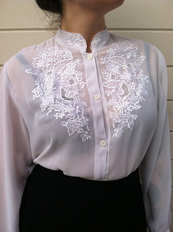 Sheer white blouse with floral embroidery size large