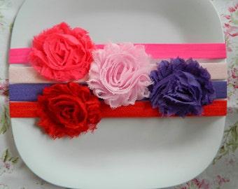 Set of 4 Shabby Rose Headbands- Valentines Set, newborns, babies, girls