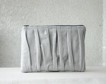 iPad Mini Case iPad mini Sleeve Silver Pleated Linen Ruched  Clutch Purse Kindle