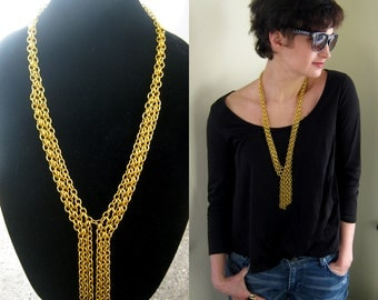 Statement lariat necklace, gold tone chunky chainmail tassel fringe necklace