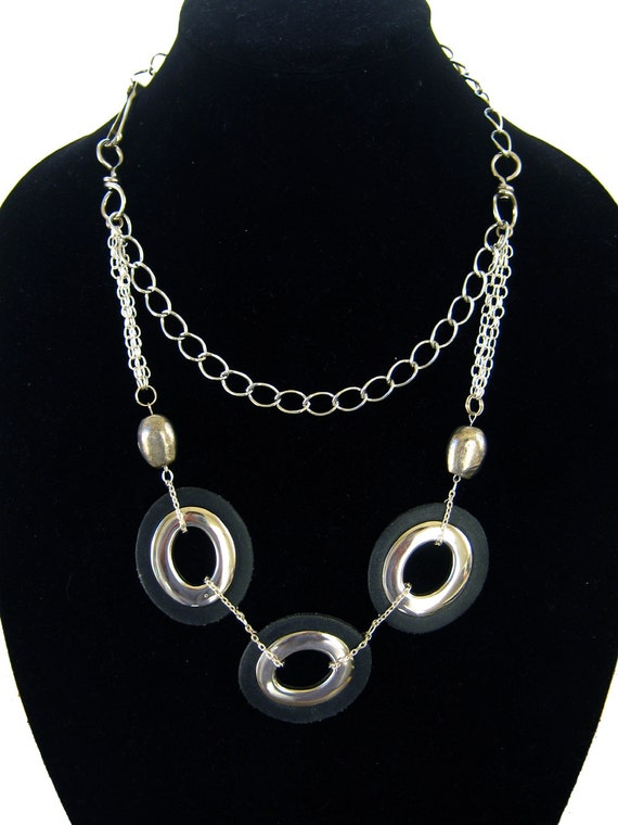 Modern statement necklace, black and silver tone, bib necklace