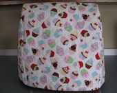 5-6 Quart Quilted Stand Mixer Cover - Cupcake - White