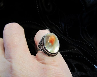 ON SALE - Exquisite Vintage Blister Pearl Ring in Ornate Sterling Silver Setting