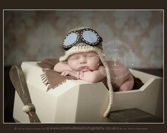 Newborn Aviator Hat. Baby Aviator Hat With Goggles. Babies Aviator Hat. Newborn Photography Prop. UK Seller