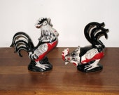 2 Large Vintage Red & Black Ceramic Rooster Figurines / Possibly Norcrest / Rustic, Shabby