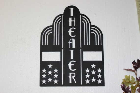 Home Theater Decor Metal Wall Art ~ Theater sign with stars home decor by