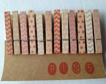 "Mini Clothespins ""VALENTINES"" - Set of 12 Handstamped Clothes Pins"