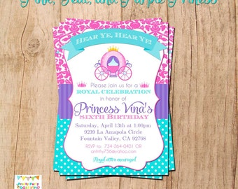 Pink, Teal, and Purple PRINCESS invitation - YOU PRINT - birthday or baby shower