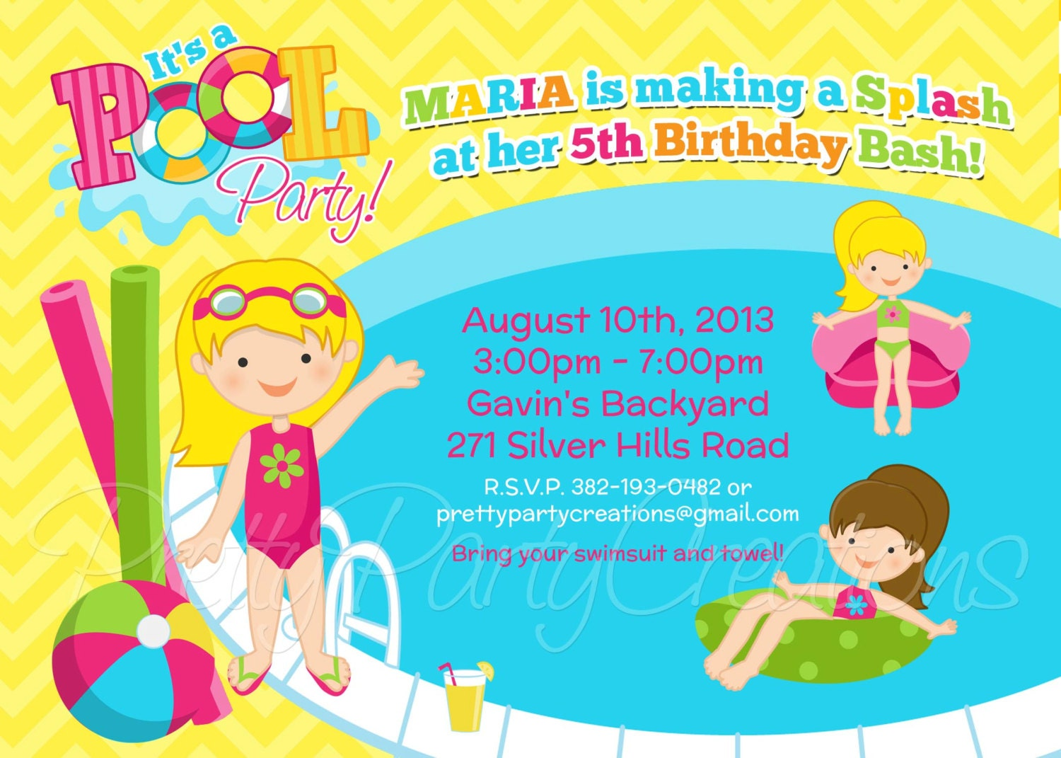 GIRL POOL PARTY invitation You Print – Invitation Pool Party