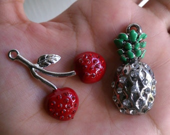 Red Cherry and Pineapple Rhinestone Charms 2pcs