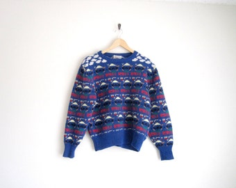 Vintage 80s Blue Knit Sweater. Geek Nerd Sweater with Geometric Patterns. Fitted Knitted Jumper Sweater. Mens Vintage. Unisex.