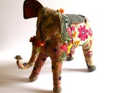 vintage patchwork indian elephant made from old embroidered textiles