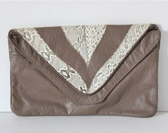 Vintage Handbag / 80s Handbag / Taupe Leather Clutch  / Embossed Leather and Faux Python