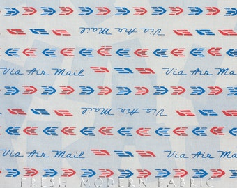 Half Yard Air Mail Stripe in Powder Blue, Air Mail 1930's by Karen Roti for Clothworks, 100% Cotton Fabric