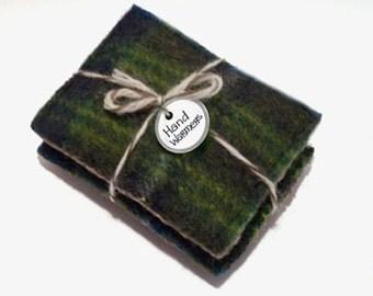 Pocket Hand Warmers BLUE GREEN PLAID Pendleton Wool Eco Gift