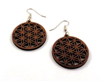 Flower of Life Sustainable Wooden Hook Earrings - Small in Walnut - Sacred Geometry Wood Dangle Earrings