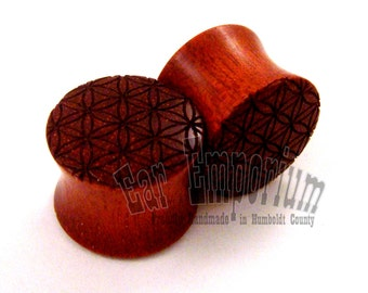 "Flower of Life Bloodwood Wooden Plugs PAIR 0g (8 mm) 00g (9 mm) 7/16"" (11 mm) 1/2"" (13 mm) 9/16"" (14 mm) (16 mm) Sacred Geometry Ear Gauges"