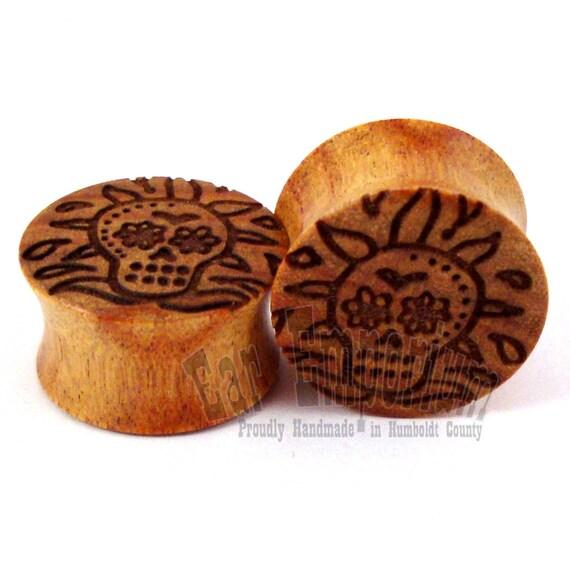 "Sugar Skull Canary Wooden Plugs PAIR 0g (8mm) 00g (9mm) (10 mm) 7/16"" (11mm) 1/2"" (13mm) 9/16"" (14mm) 5/8"" (16 mm) 3/4"" 19mm Wood Ear Gauges"