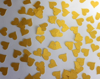 100 Gold Paper Heart Shimmery Confetti Pieces For Party, Scrap booking or Card Making