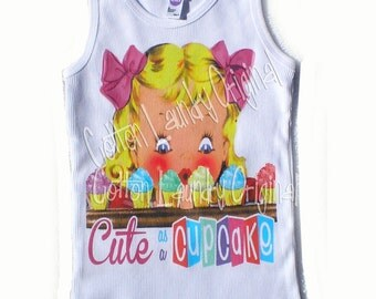 tank tee shirt one piece body suit tshirt Vintage inspired childrens tshirt ORIGINAL ....Cute as a Cupcake Ooak by Cotton Laundry