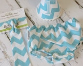 Baby Boys First Birthday Outfit Photo Cake Smash Outfit in Turquoise White Chevron