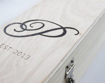 Wedding Wine Box monogram with padlock and key Winery Wedding, Vineyard Wedding