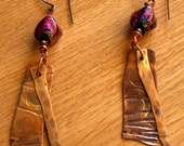 Fiery Violet Orange Dichroic Glass and Copper Drop Earrings