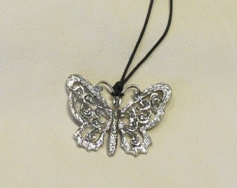 Butterfly Pendant with Free Black Cord Necklace