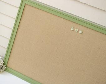 BULLETIN BOARD - Large Decorative MAGNETIC Framed Magnet Memo Board in Burlap - 26.5 x 38.5 Handmade Frame Painted Sage Green- Message Board