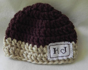 HANDMADE  Personalized Hat with Initials Preemie to 6 Months PHOTOGRAPHY PROP