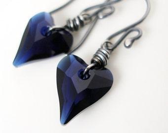 Swarovski Indigo Blue Heart Dangle Earrings Wire Wrapped Oxidized Sterling Silver Wild Heart Drop Earrings
