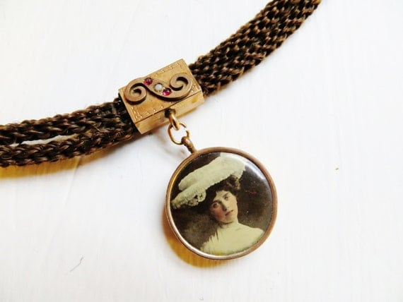 Antique Victorian Mourning Jewelry Woven Hair Watch Fob Chain