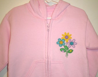 Sweatshirt Jacket, 3T Pink Jacket, Embroidered with Yellow, Purple, Turquoise Flowers, Childrens Clothing, Spring Jacket