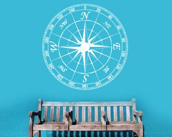 vinyl wall decal - Nautical Compass - wall art