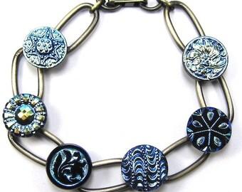 Blue and Black Czech Glass Button Bracelet