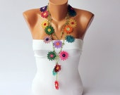 Strand necklace -Crochet bead work, lariat crochet  necklace, bohemian gipsy crochet flower necklace/ with beads