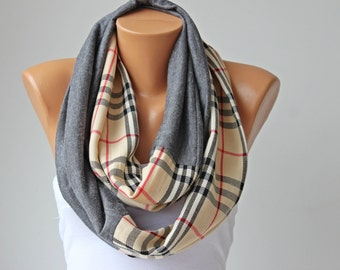 Plaid checked  infinity scarf,
