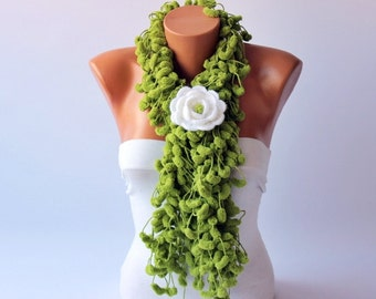 Mulberry scarf  /Pompom scarf /cocoon scarf with removable  crochet brooch ,in green