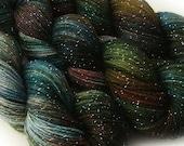 glitter sock yarn HYPOCRITE hand dyed sw merino nylon stellina fingering weight 3.5oz 435 yards