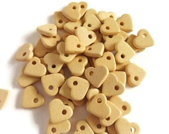 Ivory Light Yellow Ceramic Heart Beads 30pcs C 100 15