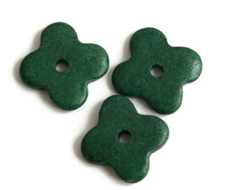 Dark Green Flower Beads, Dark Green ceramic flower beads, green flowers, Flower greek ceramic beads, Four Petals beads  7 pieces C 10 170