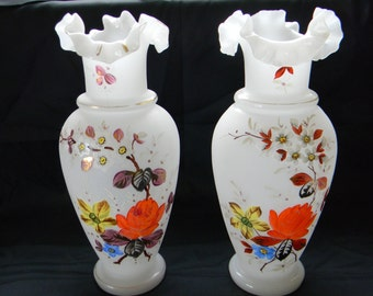 VASE, 2 Ruffled Top BRISTOL VASES
