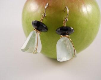 Light Green Sea Glass Earrings for Pierced Ear