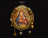 Lucky Horseshoe Art Virgin Mary Art Illustration Mater Dolorosa Vintage Ex Voto Vintage Charms Found Object Art Unique
